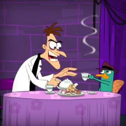 Злобный ученый Фуфелшмерц и секретный агент утконос Перри из мультфильма 'Финес и Ферб' студии Дисней