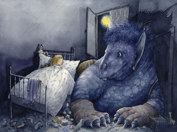 Синий-монстр-иллюстратор-Christa-Unzner-к-книге-Das-blaue-Monster